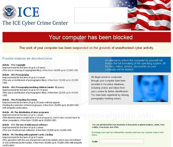 ICE Cyber Crime Center virus Removal Guide