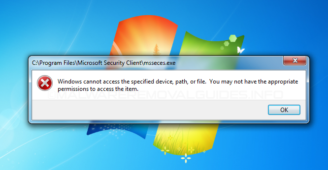 Microsoft Security Essentials - Windows cannot access the specified device, path, or file.