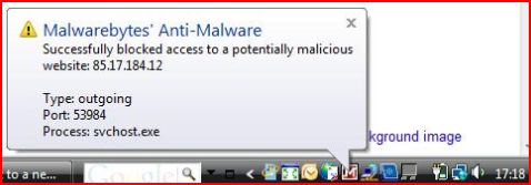 Malwarebytes Anti-Malware blocks outgoing IP
