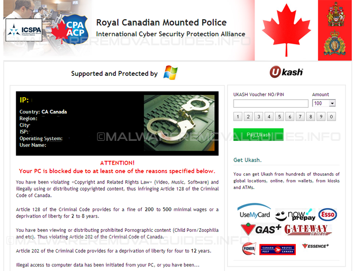 Royal Canadian Mounted Police virus - Removal Guide