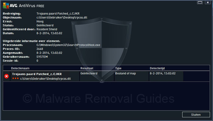 How to remove Win32/Patched rpcss.dll virus