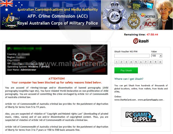 Australian Communications and Media Authority Ransomware