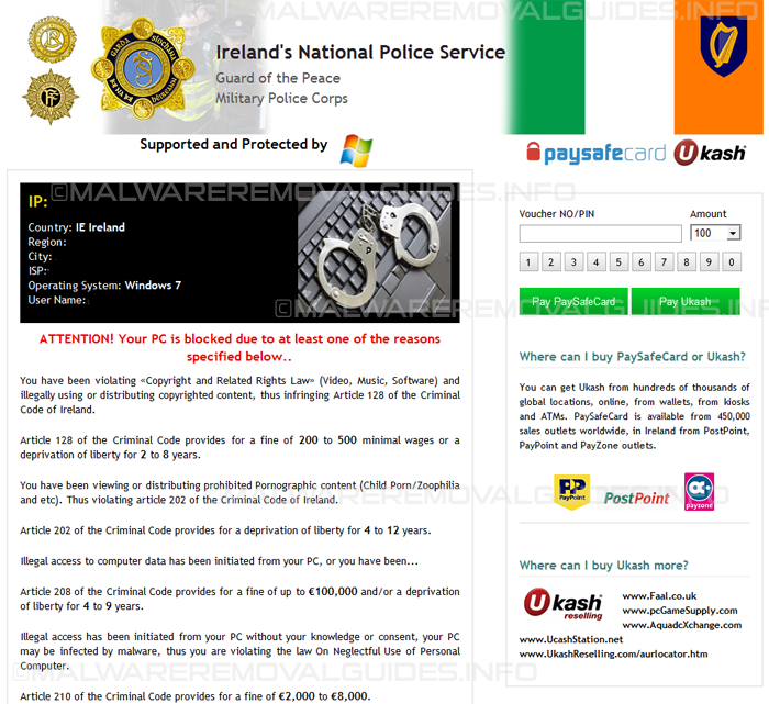 Ireland's National Police Service virus Removal Guide