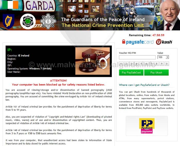 The Guardians of the Peaceof Ireland Ransomware