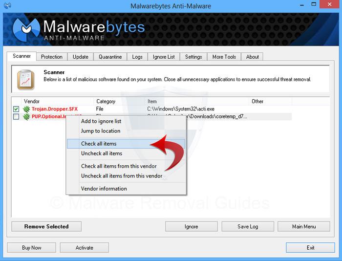 Malwarebytes Anti Malware Check Items How to remove Adware from Google Chrome